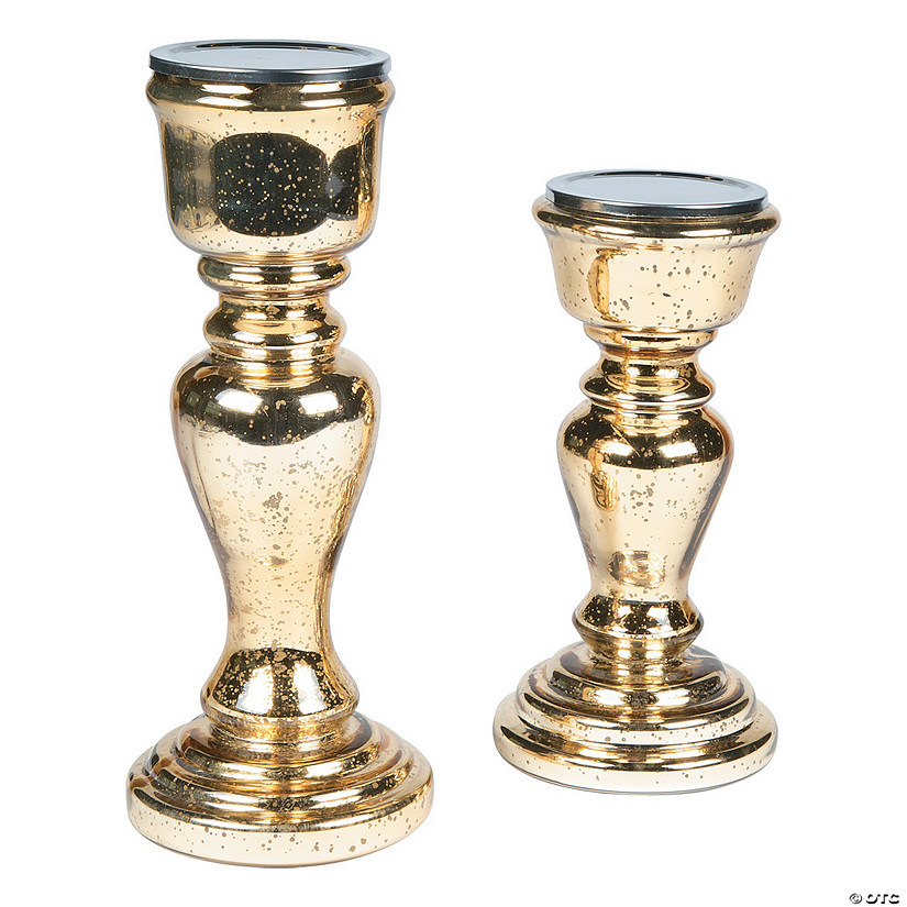 Gold Mercury Candle Holder Set