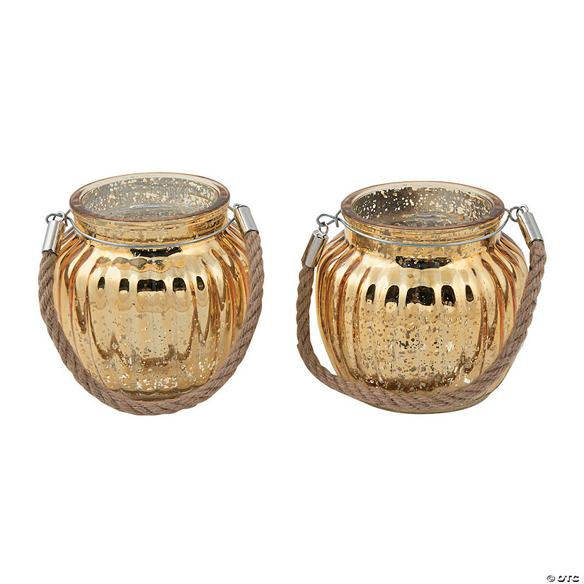 Gold Mercury Glass Candle Holders