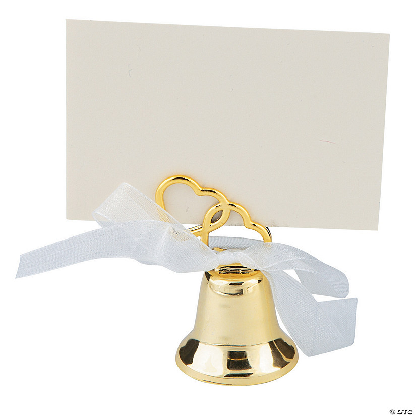 Gold Metal Wedding Bell Place Card Holders