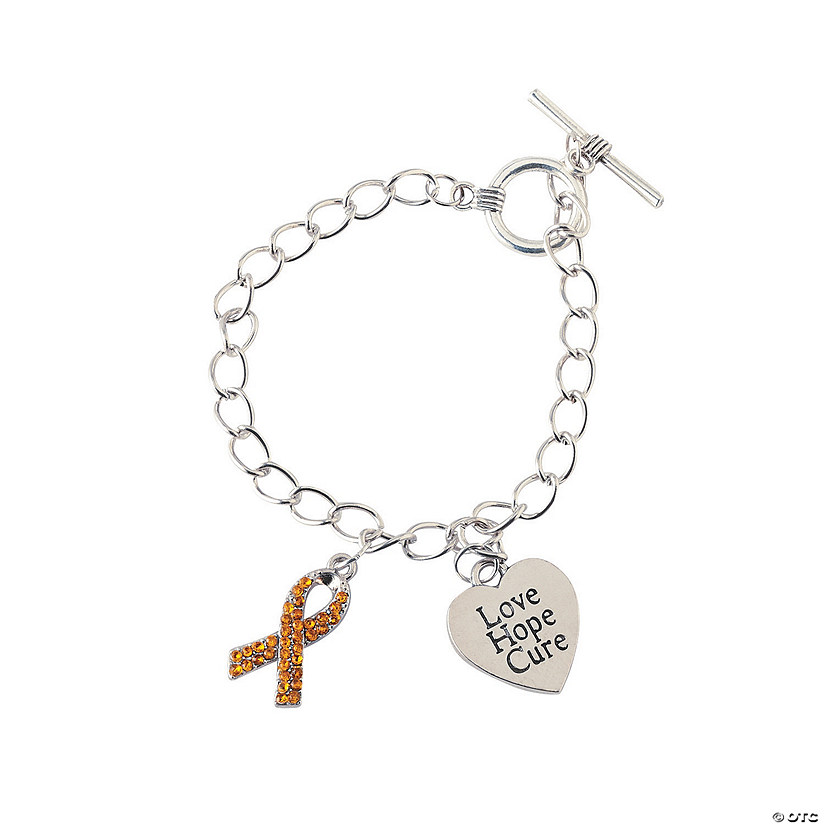 Gold Ribbon Awareness Bracelets with Charms