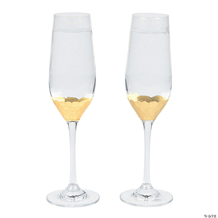 Gold Scalloped Champagne Flutes