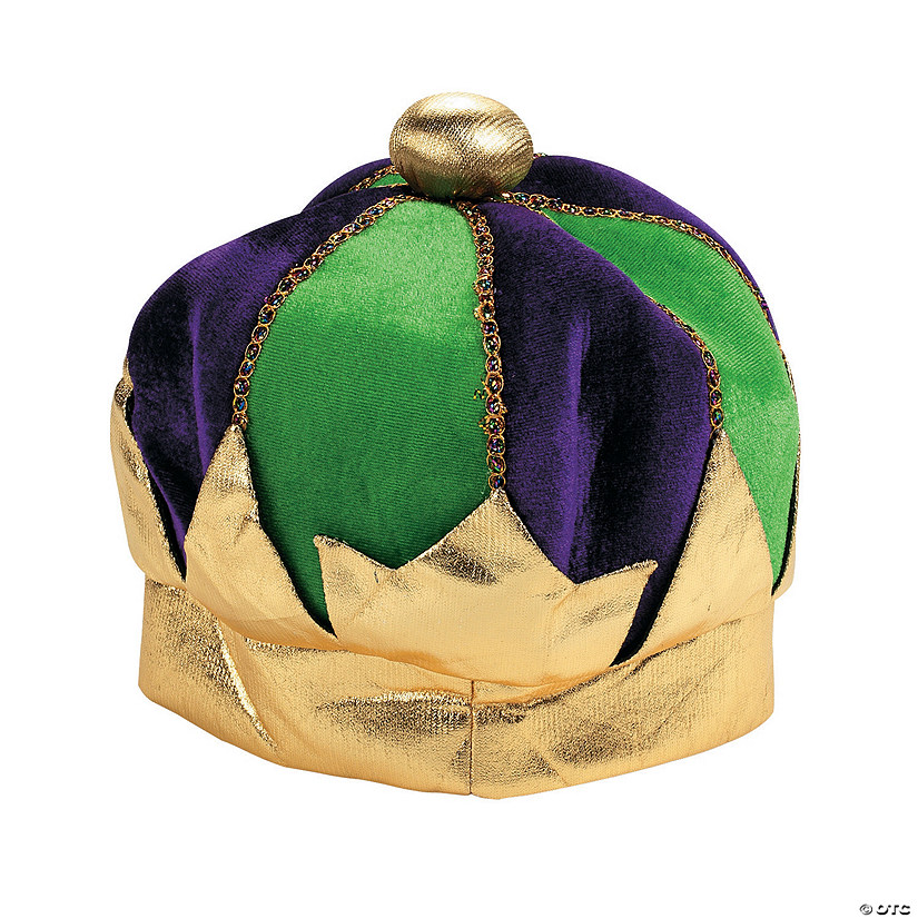 Green & Purple Plush Mardi Gras Crown