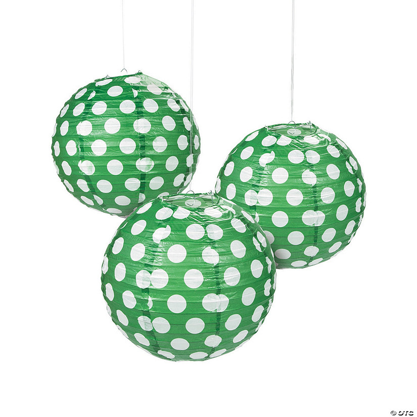 Green Polka Dot Hanging Paper Lanterns