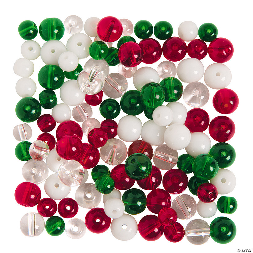 Green, Red & Clear Round Beads 6mm - 8mm