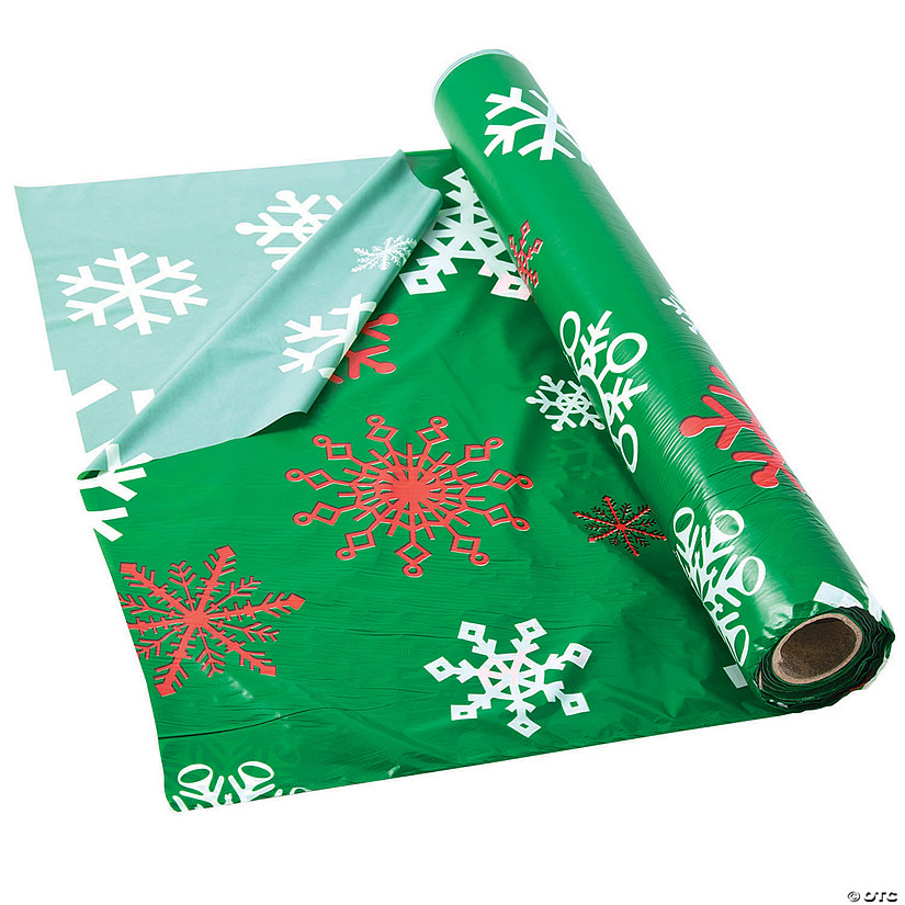 Green Snowflake Plastic Tablecloth Roll