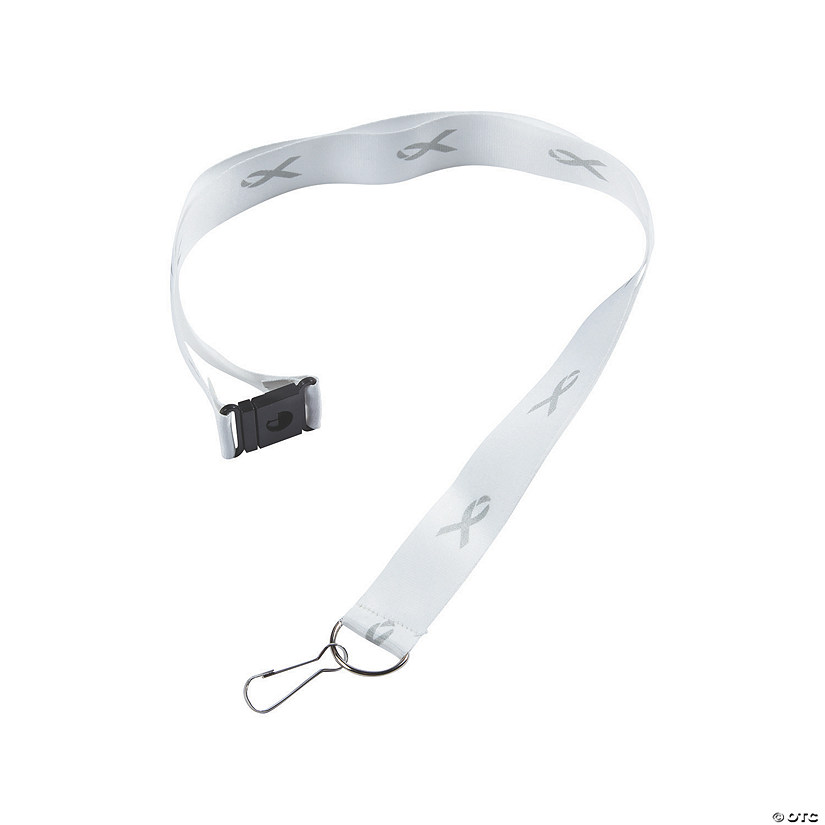 Grey Awareness Ribbon Badge Holder Lanyards