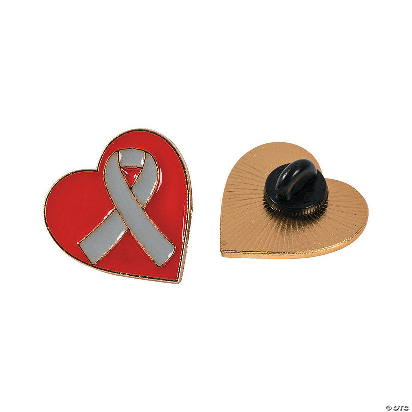 Grey Awareness Ribbon Heart Pins
