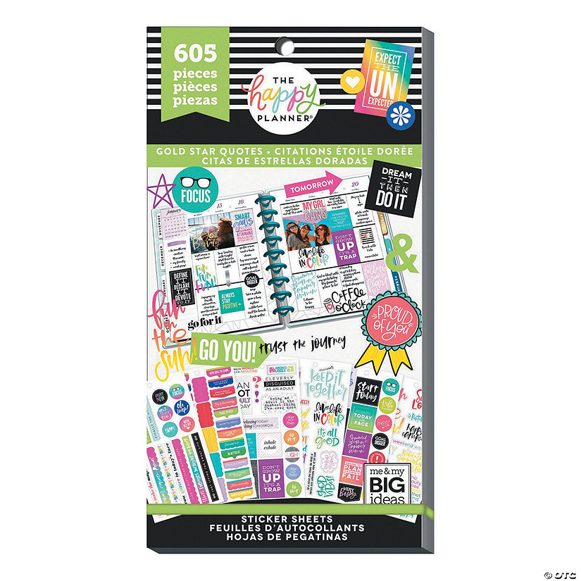 Happy Planner Sticker Value Pack-Gold Star Quotes, 605/Pkg