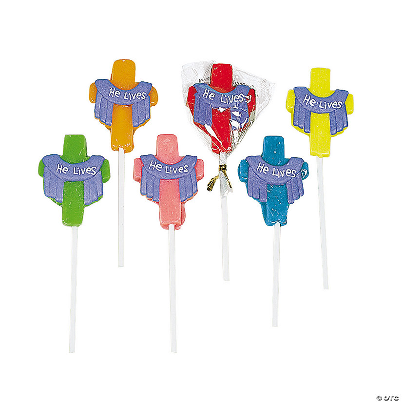 """He Lives!"" Cross-Shaped Lollipops"