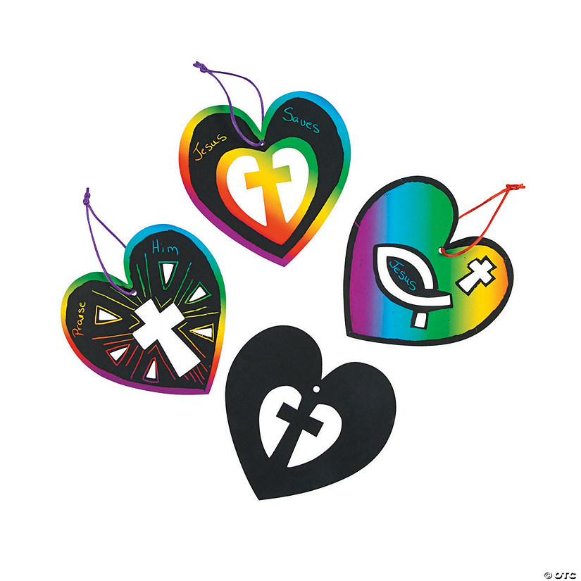 Heart & Cross Magic Color Scratch Ornaments