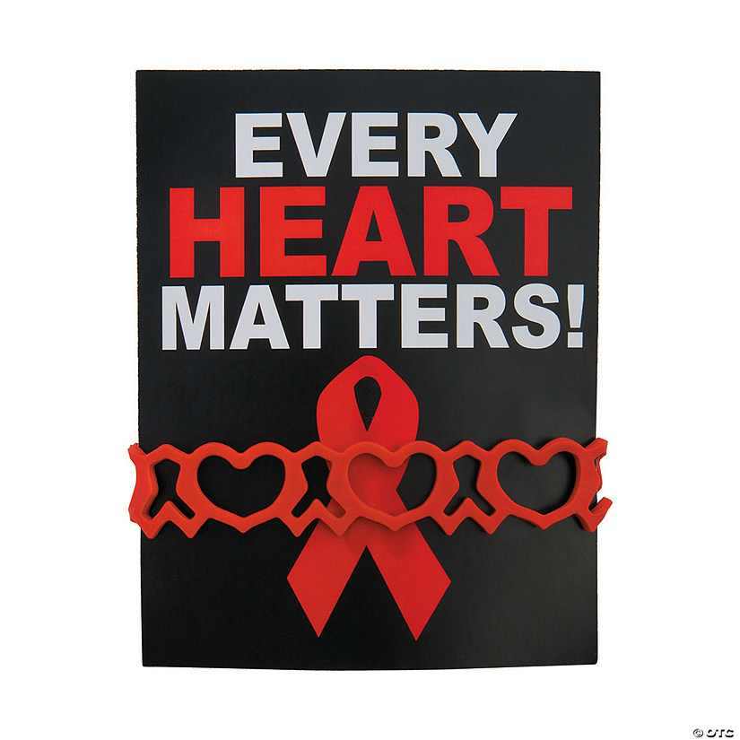 Heart Health Rubber Bracelets on Card