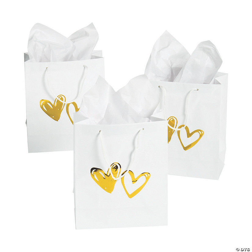 Hearts Gift Bags with Gold Foil