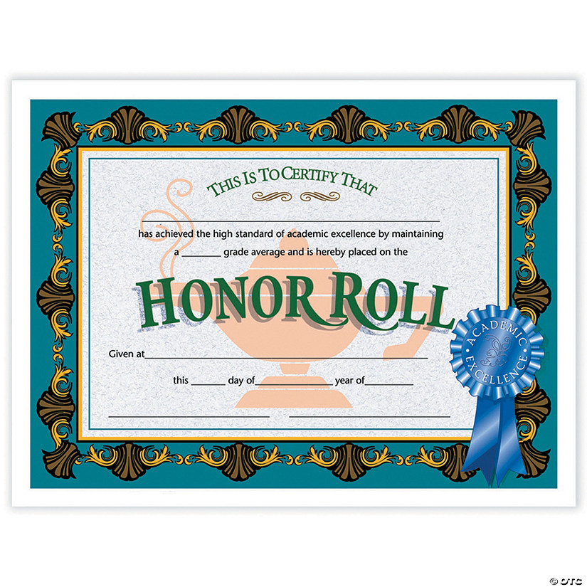 Honor Roll Certificate, 30 per Pack, 6 Packs