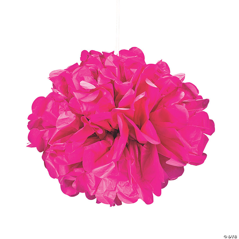 Hot Pink Pom-Pom Tissue Decorations