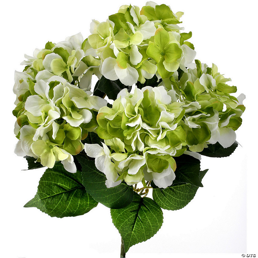 "Hydrangea Bush X5 18""-Cream/Green"