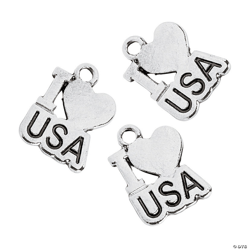 I Love USA Charms