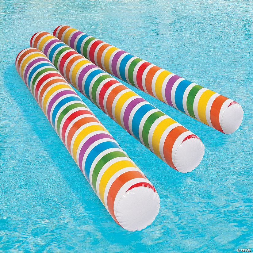 Inflatable Rainbow Glow-in-the-Dark Pool Noodles