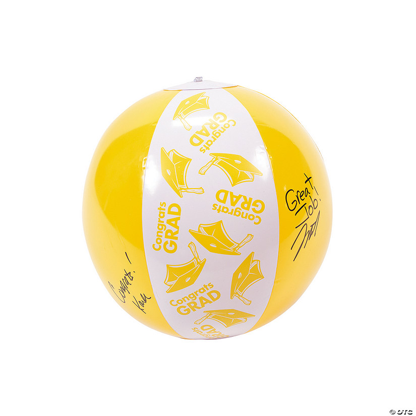 Inflatable Yellow Congrats Grad Autograph Beach Balls