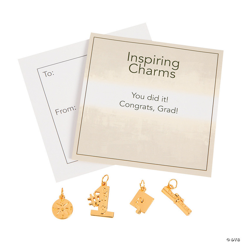 Inspiring Goldtone Graduation Charms with Inspirational Tag