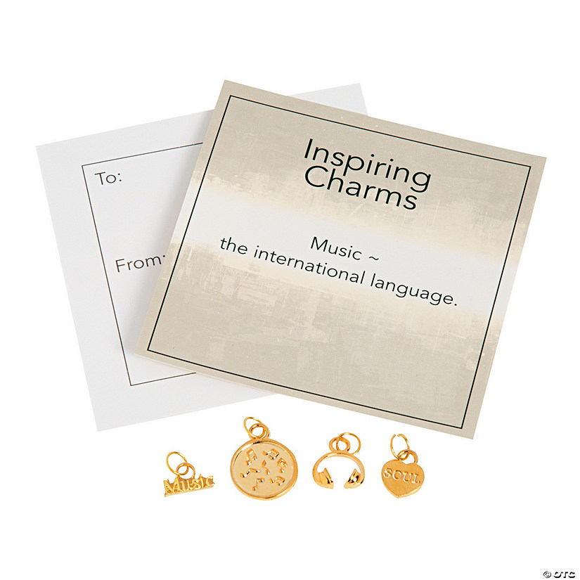 Inspiring Goldtone Music Charms with Inspirational Tag