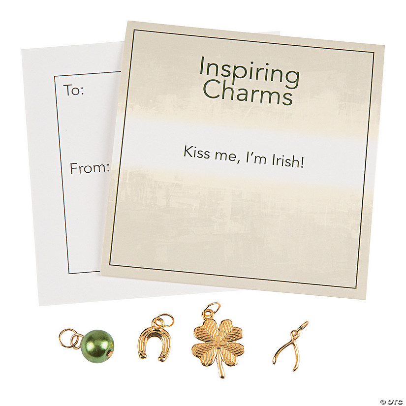 Inspiring Goldtone St. Patrick's Day Charms with Inspirational Tag