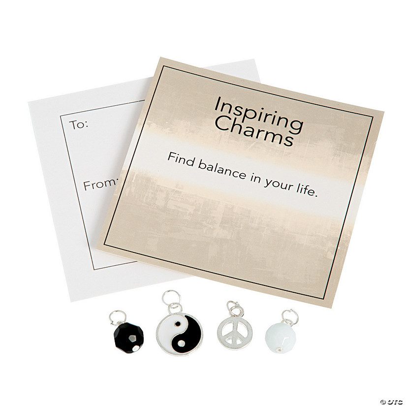 Inspiring Silvertone Yin-Yang Charms with Inspirational Tag