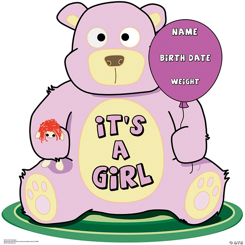 It's A Girl Teddy Bear Cardboard Stand-Up