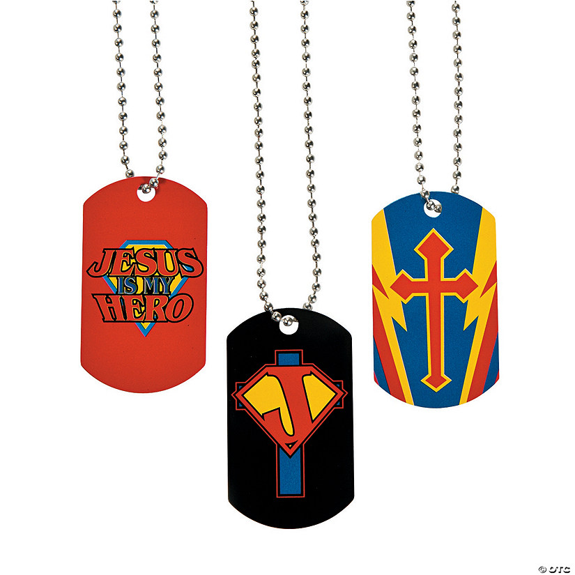 Jesus Is My Hero Dog Tag Necklaces