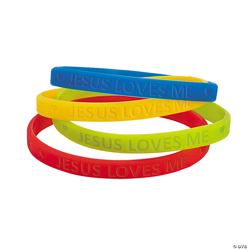 Jesus Loves Me Thin Band Rubber Bracelets
