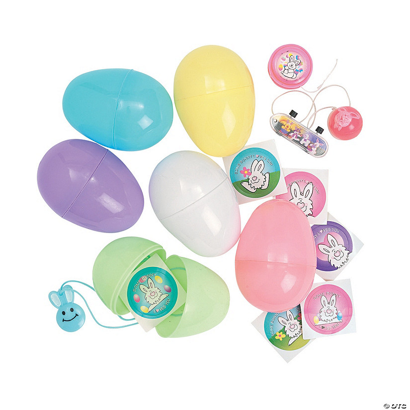 Jumbo Toy-Filled Pastel Plastic Easter Eggs - 24 Pc.