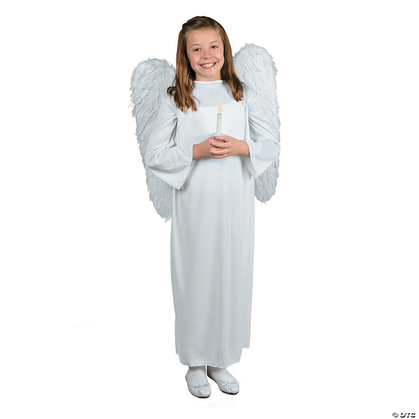 Kid's Angel Costume with Wings & Candle - Large/Extra Large