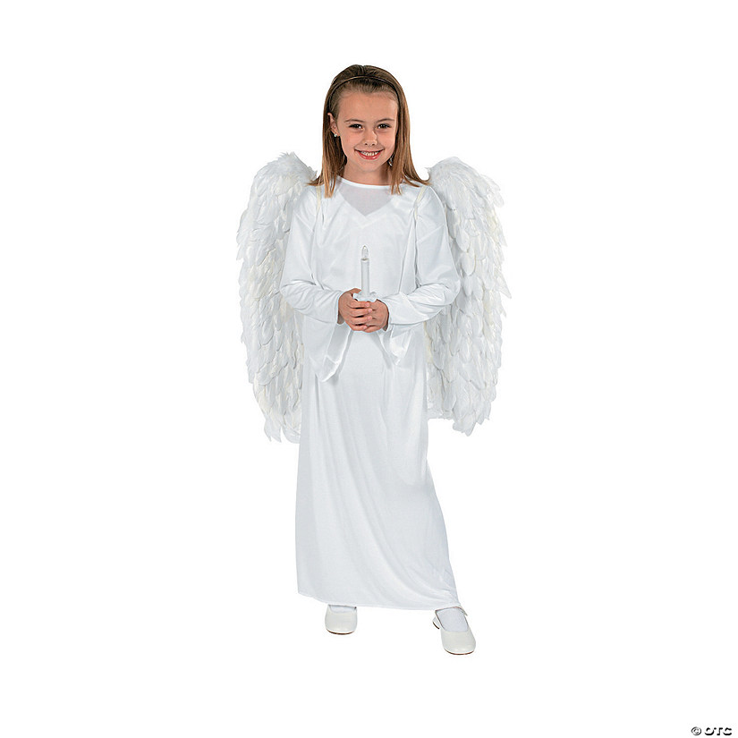 Kid's Angel Costume with Wings & Candle - Small/Medium