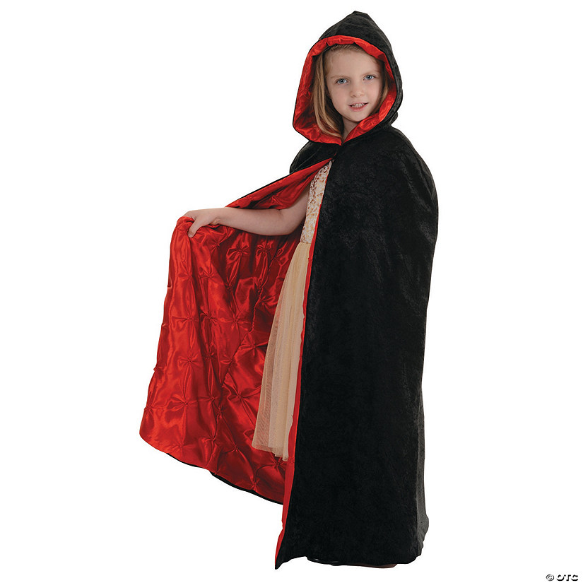Kids' Black/Red Velvet Cape