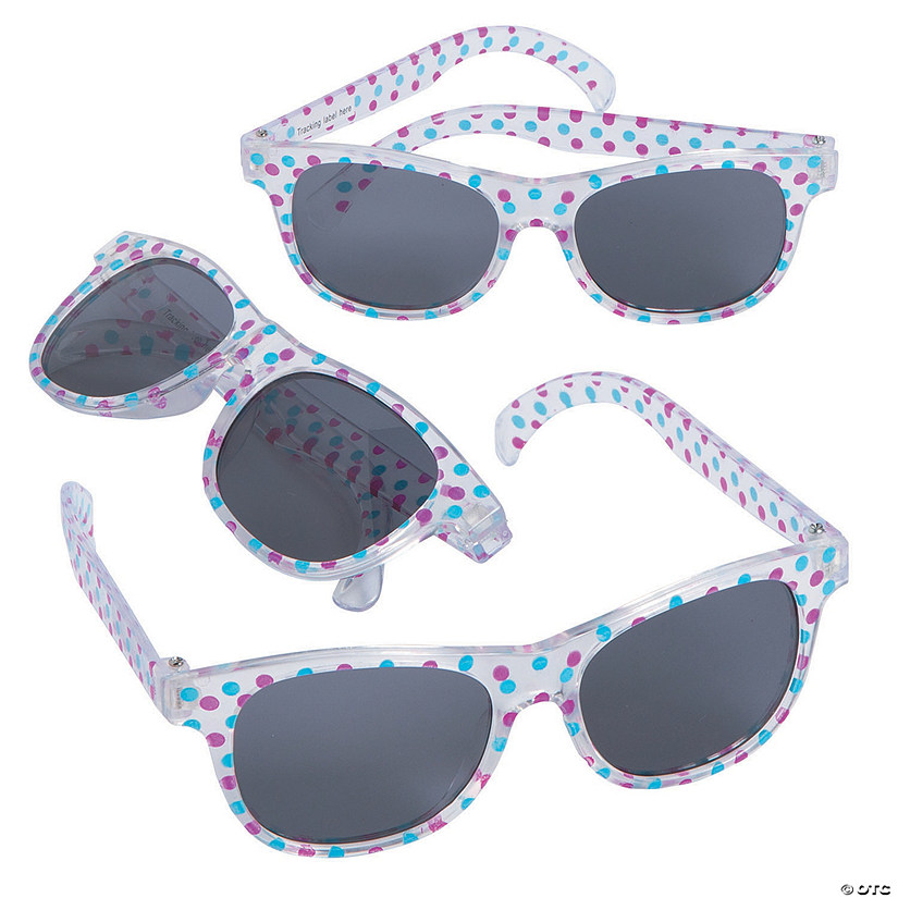 Kids' Clear Sunglasses with Polka Dots - 12 Pc.