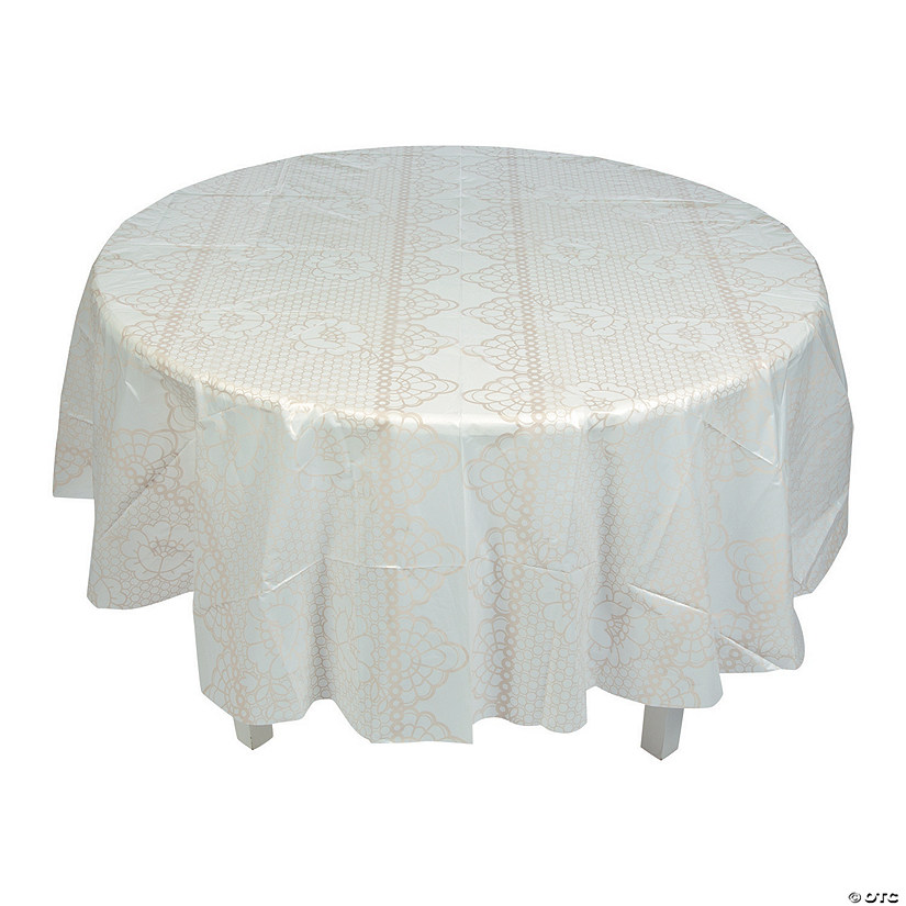 Lace Print Round Plastic Tablecloth
