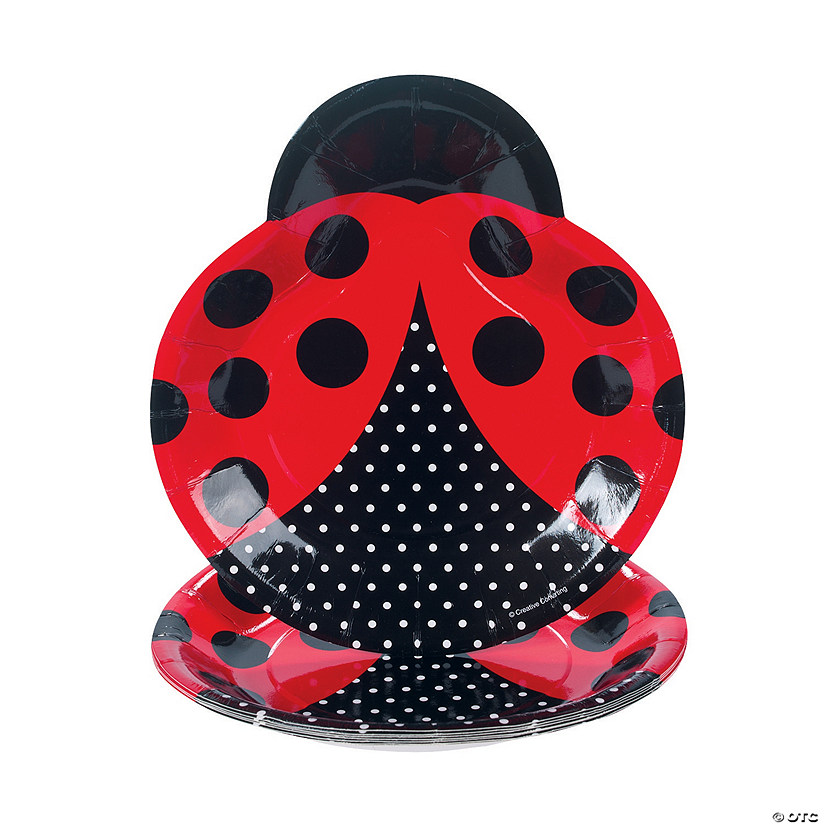 Ladybug Fancy-Shaped Dinner Plates - Discontinued