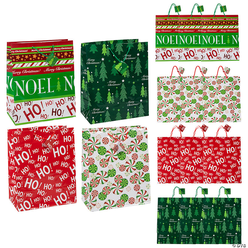 Large Christmas Gift Bags with Tags Assortment