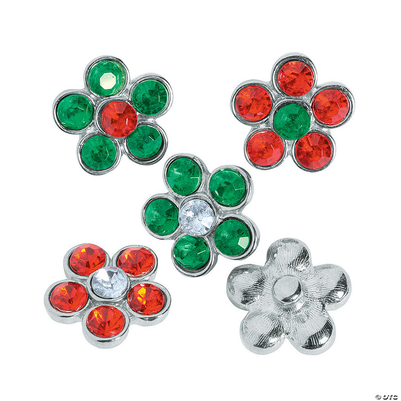 Large Flower Christmas Snap Beads - 20mm