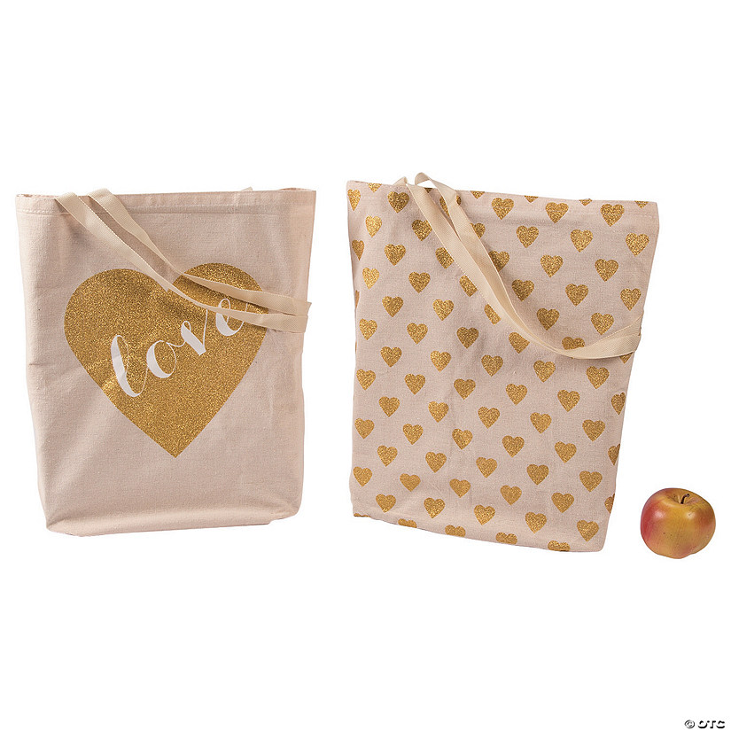 Large Glitter Heart Love Tote Bags