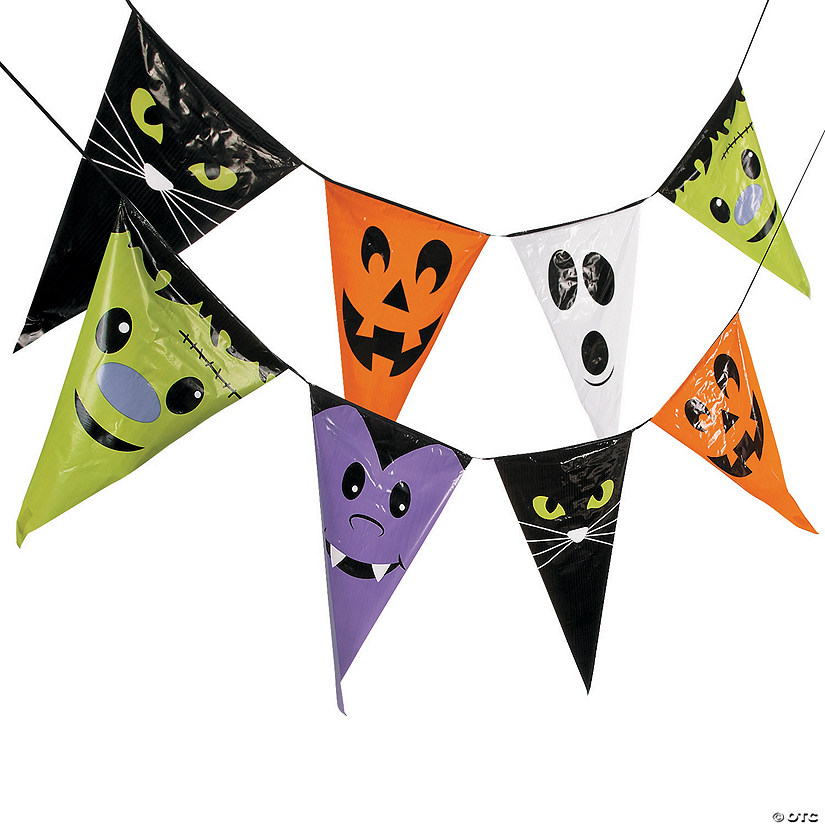 Large Halloween Character Plastic Pennant Banner