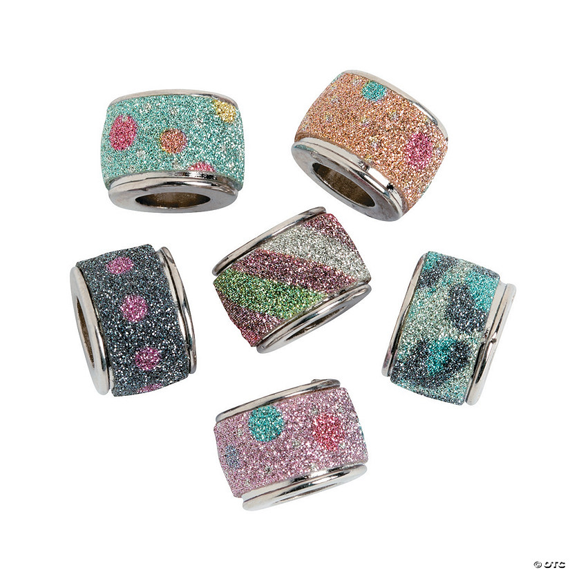 Large Hole Round Glitter Beads - 10mm