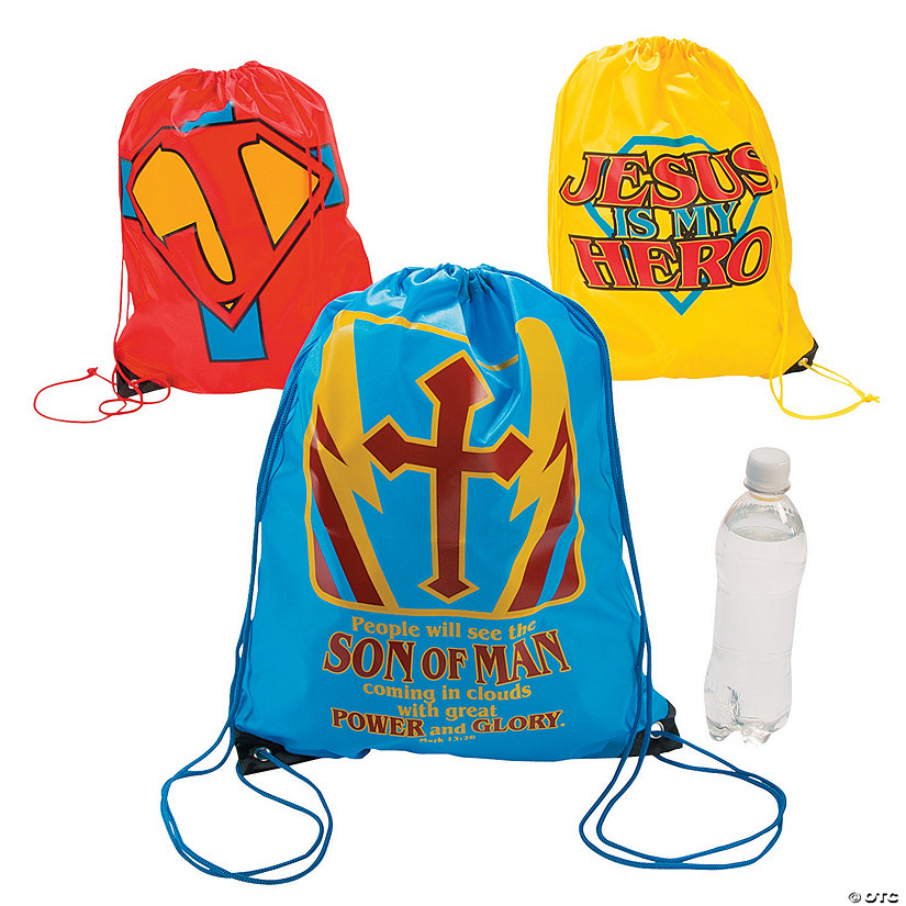 Large Jesus Is My Superhero Drawstring Bags