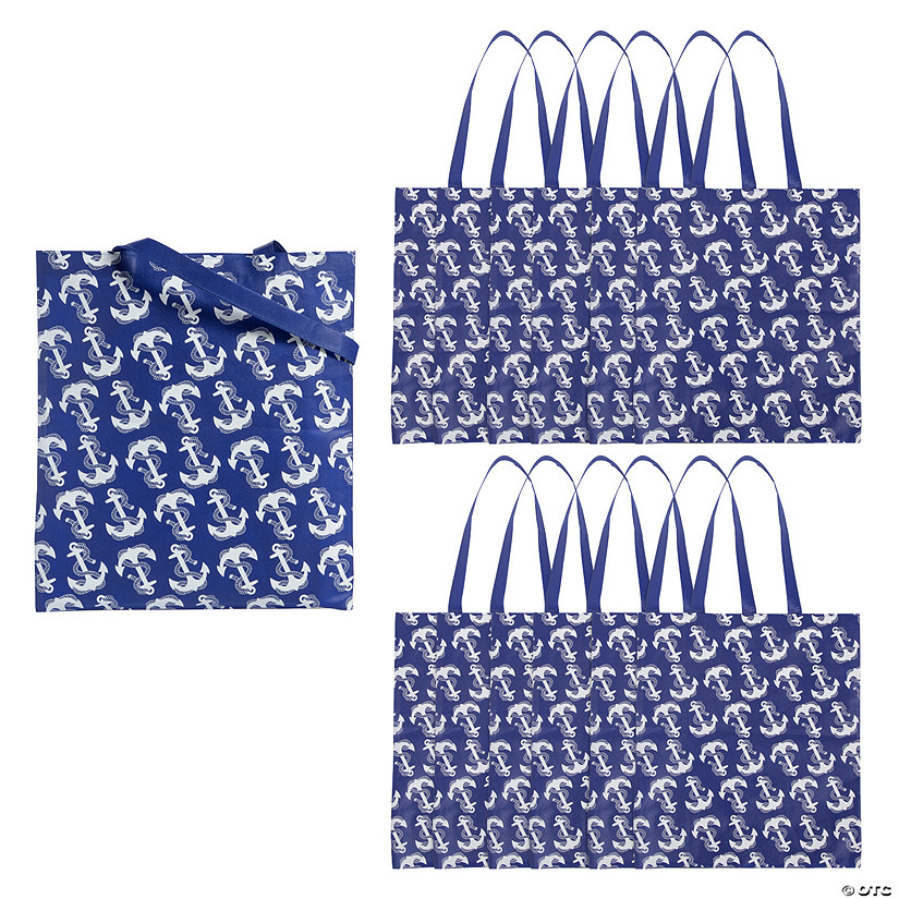 Large Navy Anchor Tote Bags