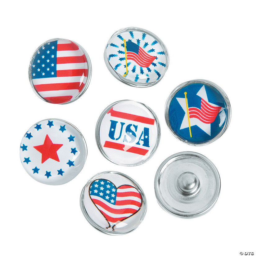 Large Patriotic Snap Beads - 17mm