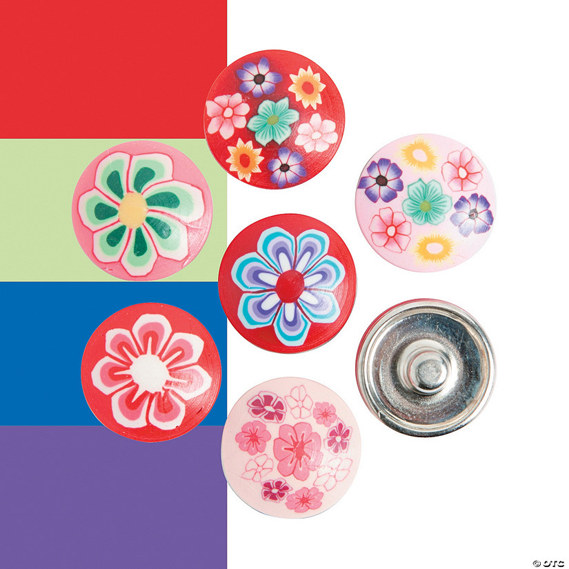 Large Polymer Snap Beads with Flowers - 17mm