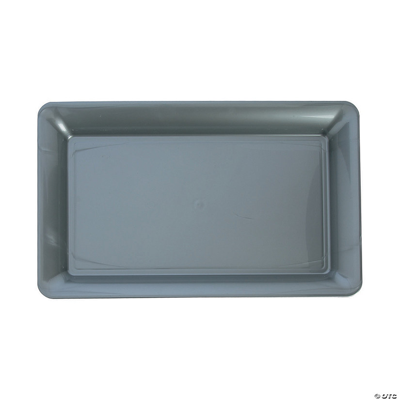 Large Silver Rectangular Plastic Serving Plate