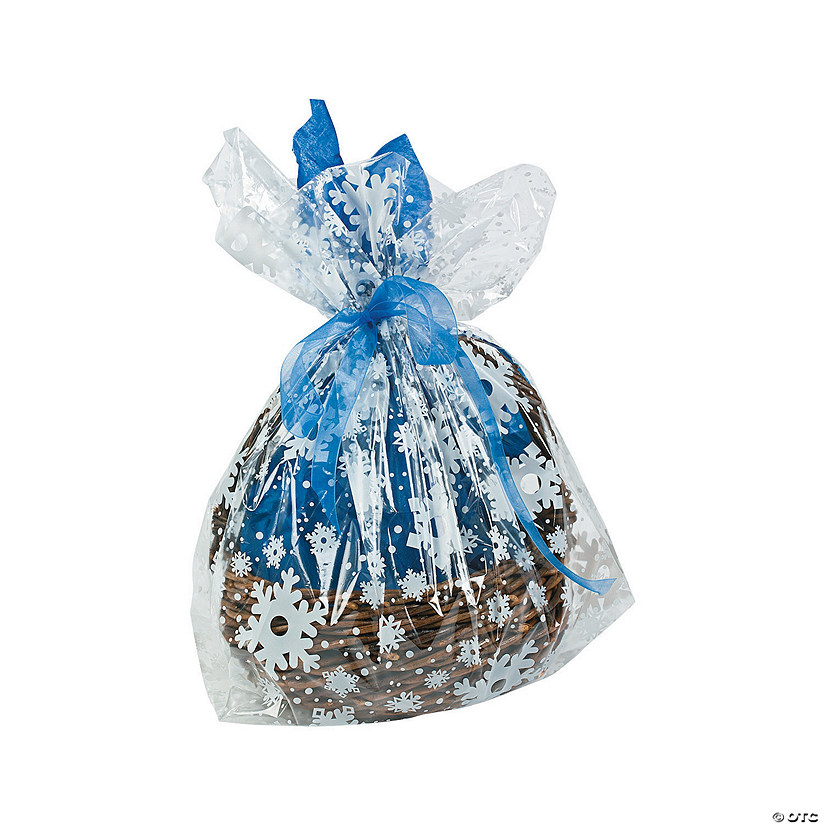 Large Snowflake Basket Cellophane Bag Assortment