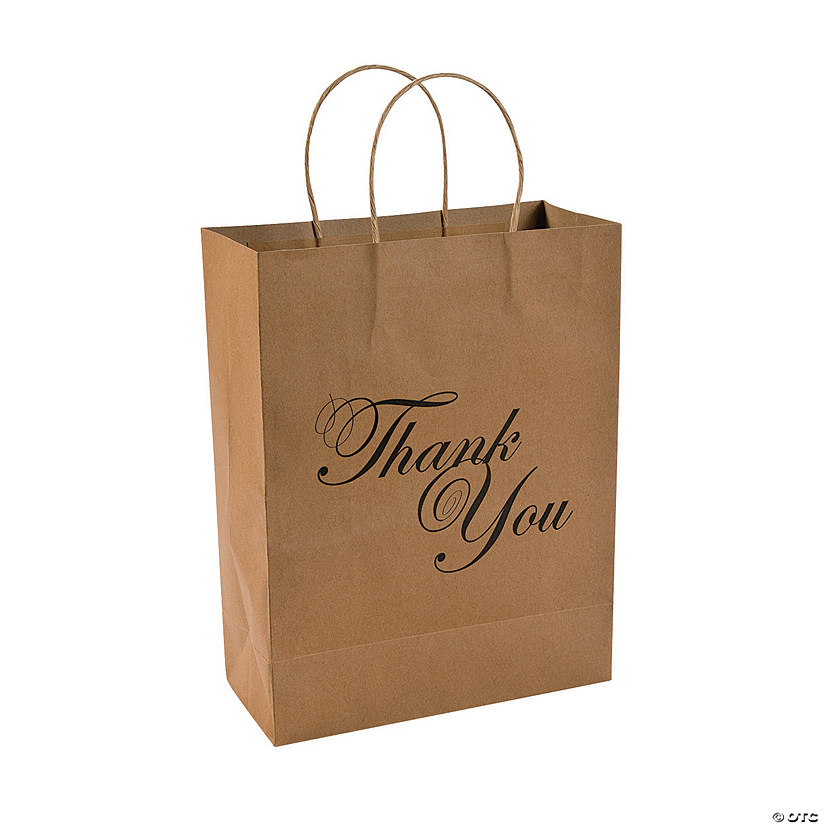 Large Thank You Kraft Paper Gift Bags