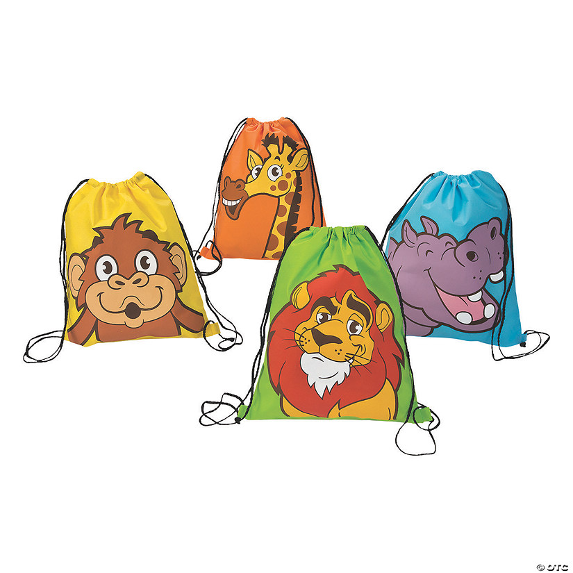 Large Zoo Adventure Drawstring Bags