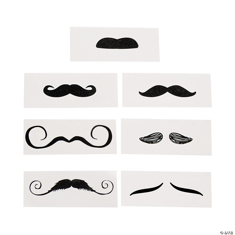 Life size mustache tattoo assortment for Mustache temporary tattoos